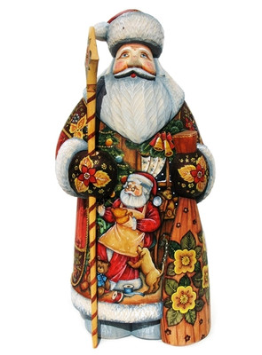 Workshop Hand Carved Wooden Santa Front View