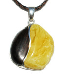 Dream Butterscotch Baltic Amber Petrified Wood Silver Pendant