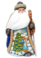Christmas Spirit Hand Carved Wooden Santa Front View