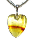 Heart Clear Honey Baltic Amber Silver Pendant