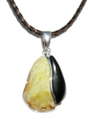 Princess Butterscotch Baltic Amber Petrified Wood and Silver Pendant