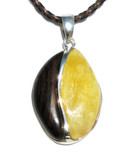 Candy Baltic Amber Petrified Wood and Silver Pendant