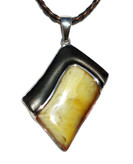 Lady Baltic Amber Petrified Wood and Silver Pendant