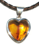 Crystal Heart Clear Cognac Baltic Amber Pendant