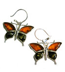 Butterflies Baltic Amber 925 Silver Earrings