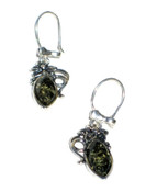 Flower Green Baltic Amber 925 Silver Earrings