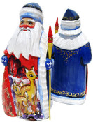 Deer Hand Carved Wooden Santa in Blue
