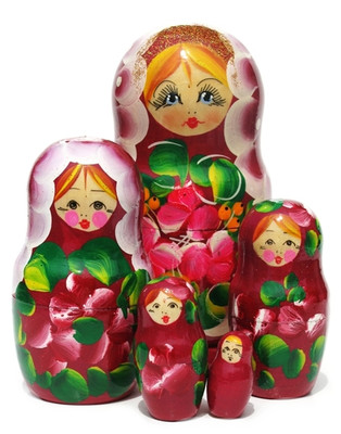 Surprise Large 5-Piece Burgundy Nesting Doll