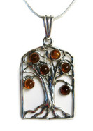 Family Tree Framed Cognac Baltic Amber Silver Pendant