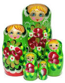 "Nesting Doll ""Inna"" Green 5-Piece"