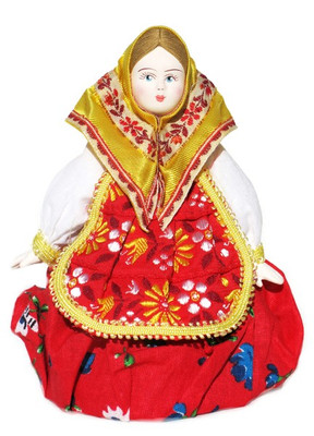 "Russian Porcelain Costume Doll ""Matryoshka"" Front"