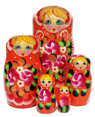 "Nesting Doll ""Inna"" Orange 5 Piece"