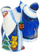 Lantern Hand Carved Wooden Santa in Blue