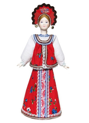 "Large Russian Porcelain Costume Doll ""Sudarushka"" Front View"