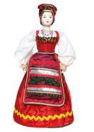 "Russian Porcelain Costume Doll ""Pelageya"" Front View"