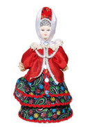 "Small Russian Porcelain Costume Doll ""Daria"" Front View"