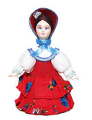 Beauty small Russian porcelain doll's front view