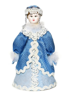 Small Russian porcelain doll Snow Maiden front view