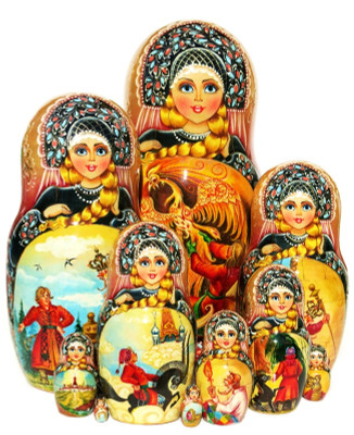10-pc Russian Fairytale nesting doll in black