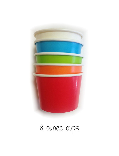 Mixed Color Party Pack - Eight Ounce Ice Cream Cups & Wooden Spoon Set