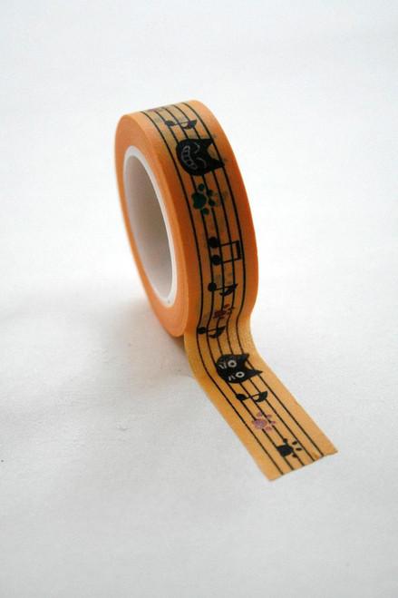 Washi Tape - 15mm - Black Cats on Yellow Pattern - No. 540