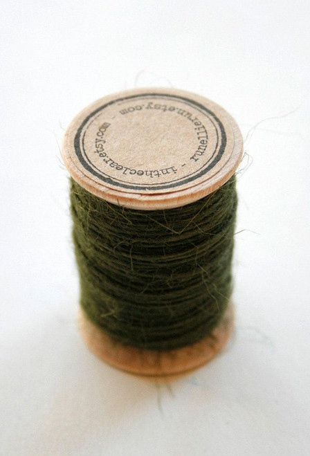 Burlap Twine - 30 Yards on Wooden Spool - Olive Green Color Jute
