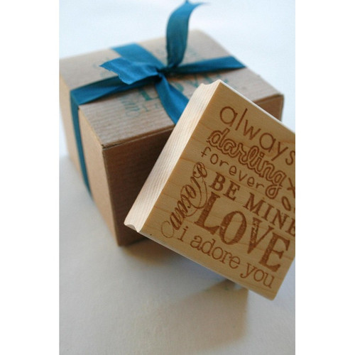 Love Themed Wood Mounted Red Rubber Stamp with Engraved Top - Valentine Wedding Love