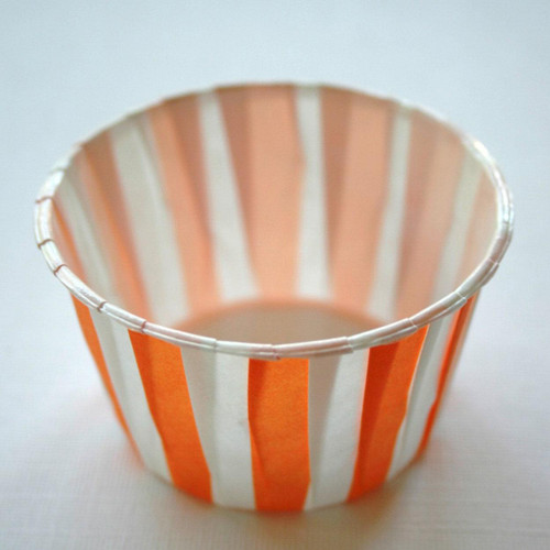 Stiped Nut or Portion Paper Cups - Orange and White