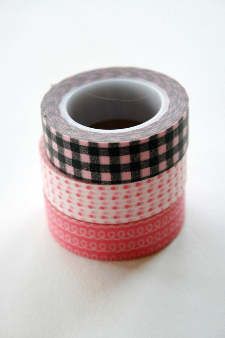Washi Tape - 15mm - Combination E - Pink and Black - Three Rolls No 82/88/205