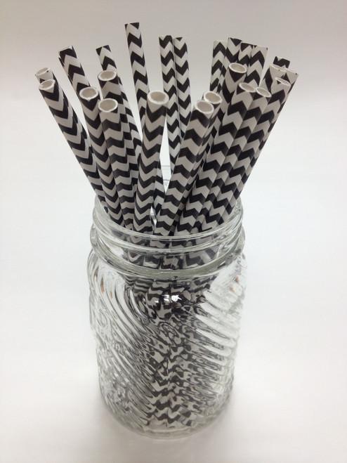 Black Chevron Paper Drinking Straws - made in USA