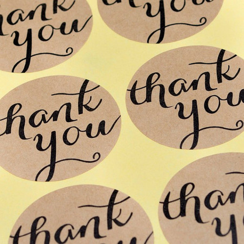 """Sticker - Brown Kraft 1.5 inch Round """"Thank You"""" - Set of 12"""