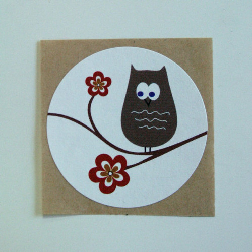 Sticker - Owl on a Tree Branch (Red Accent) 1.5 inch White