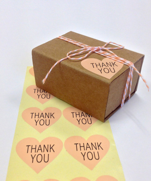 Glossy Shell Pink Heart Thank You Stickers - 1.5 Inch - Thank You Block Font in Black