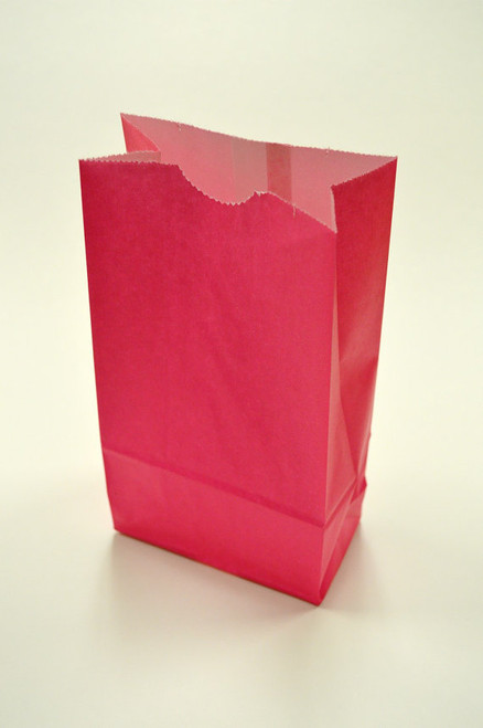 Hot Pink Flat Bottom Paper Merchandise or Lunch Bags - 4.25 x 2.375 x 8.18 Inches