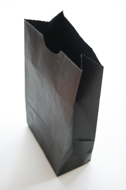 Black Flat Bottom Paper Merchandise or Lunch Bags - 4.25 x 2.375 x 8.18 Inches