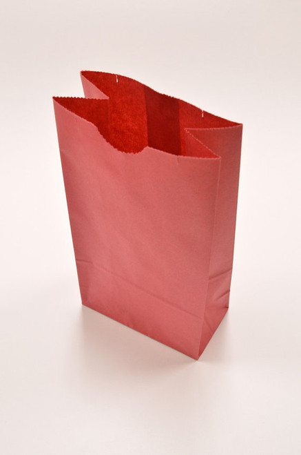 Red Flat Bottom Paper Merchandise or Lunch Bags - 4.25 x 2.375 x 8.18 Inches