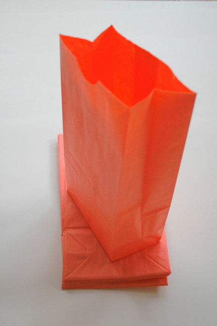 Orange Flat Bottom Paper Merchandise or Lunch Bags - 4.25 x 2.375 x 8.18 Inches