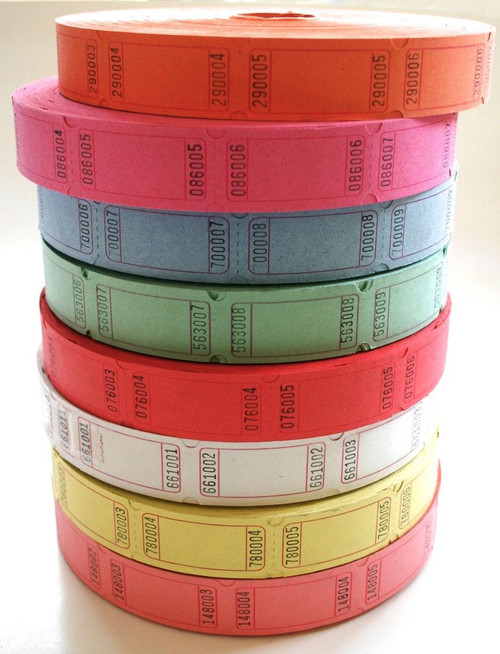 Raffle or Carnival Tickets  -  8 Colors to choose from  - 50 tickets