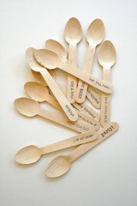 """Wooden Utensils - 6.5"""" Length - Standard and Custom Phrases"""