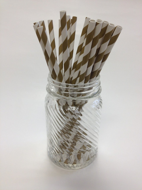 Antique Gold Stripe Paper Drinking Straws - made in USA