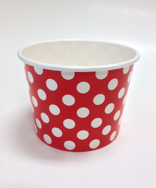 Ice Cream Cups Red Polka Dot 12 oz. Paper