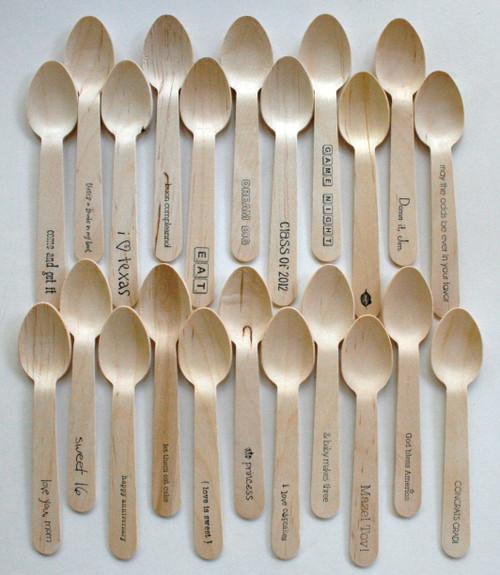 """1000 Wooden Utensils - 4.5"""" Length - Standard and Custom Phrases"""
