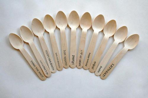 """1000 Wooden Utensils - 5.5"""" Length - Standard and Custom Phrases"""