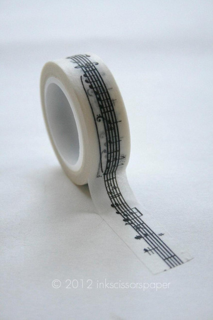 Washi Tape - 15mm - Black Musical Notes on White Pattern - No. 319