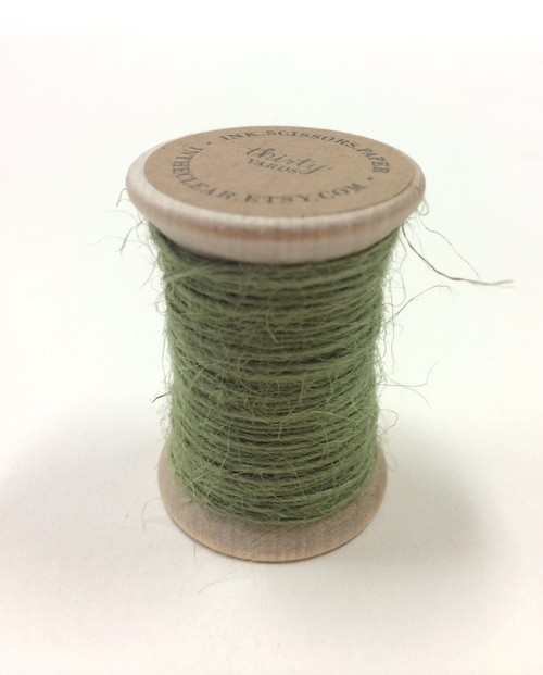 Burlap Twine - 30 Yards on Wooden Spool - Sage Color Jute