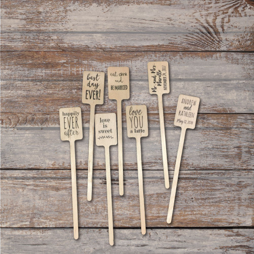Wooden Drink Stirrers or Cupcake Picks - Quick Ship - Weddings, Birthdays, Retirements, Corporate Events - FREE U. S. SHIPPING
