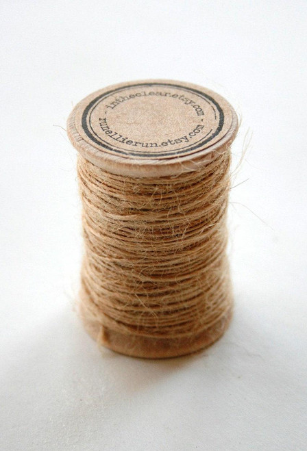 Burlap Twine - 30 Yards on Wooden Spool - Natural Kraft Color Jute