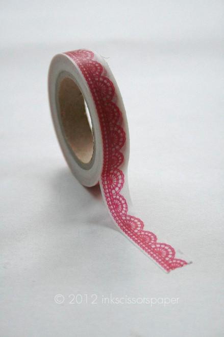 Washi Tape - 10mm - Hot Pink Scalloped Lace Pattern - No. 250