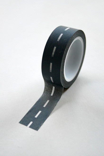 Washi Tape - 15mm - Charcoal Divided Highway Road Stitching - No. 353