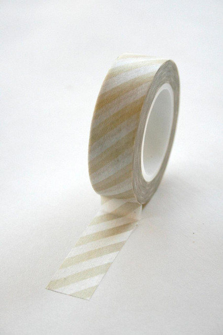 Washi Tape - 15mm - Gold on White Diagonal Stripes - No. 155